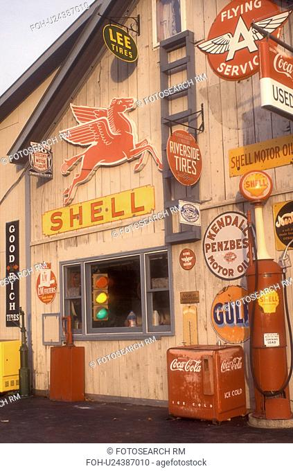 gas station, antique, collectibles, A collection of old signs and other memorabilia on Steve Morris Garage and Auto Sales in Orange in Orange County in the...