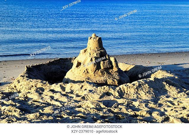 Sand castle along the ocean edge, Cape Cod, MA, USA