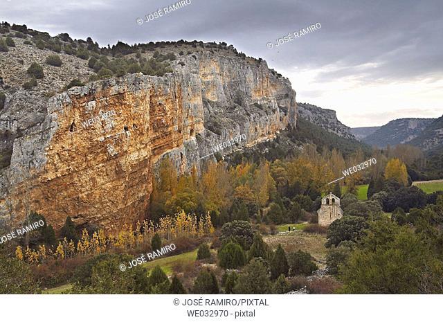 Ruins of Casuar monastery, Riaza river canyon. Castile-Leon. Spain