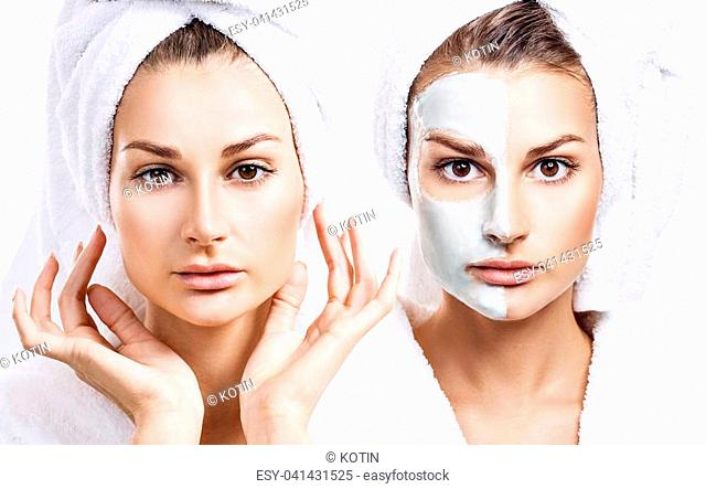 Beautiful woman with mask on her face isolated on white background. Skincare concept