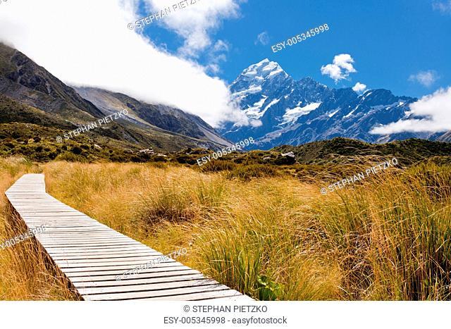 Hooker Valley w Aoraki, Mt Cook, Southern Alps, NZ