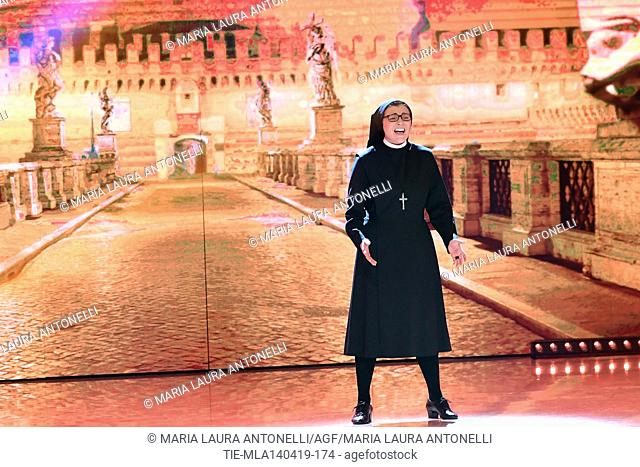 Sister Cristina during the performance at the talent show ' Ballando con le stelle ' (Dancing with the stars) Rome, ITALY-14-04-2019
