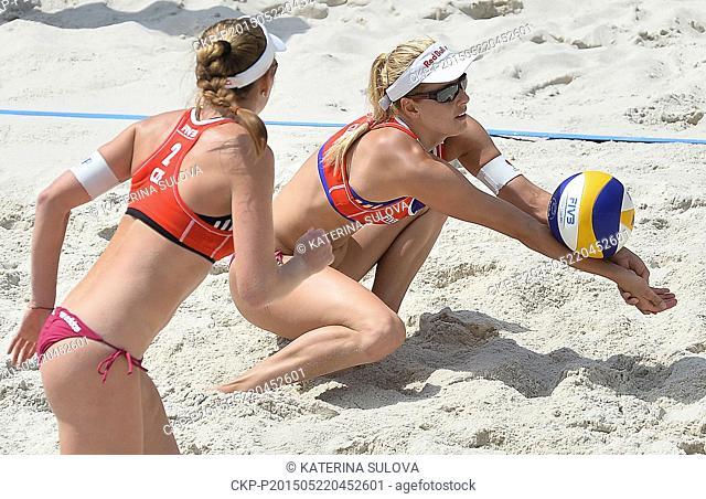 Kristyna Kolocova, left, and Marketa Slukova (CZE) in action during the women Beach Volleyball World Tour FIVB Prague Open match against Taru Lahti and Riikka...
