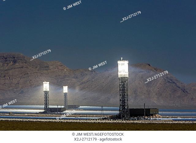 San Bernardino County, California - NRG Energy's Ivanpah Solar Project, a solar thermal electric generating facility in the Mojave Desert