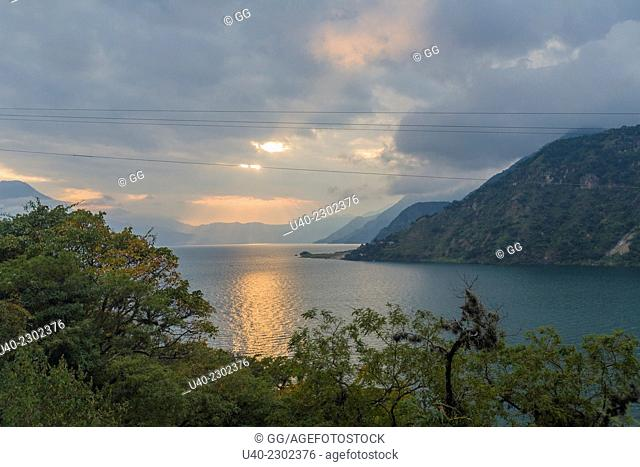 Guatemala, Lake Atitlan, sunset