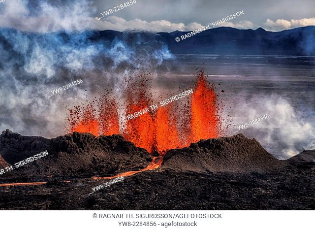 Volcano Eruption at the Holuhraun Fissure near the Bardarbunga Volcano, Iceland. August 29, 2014 a fissure eruption started in Holuhraun at the northern end of...