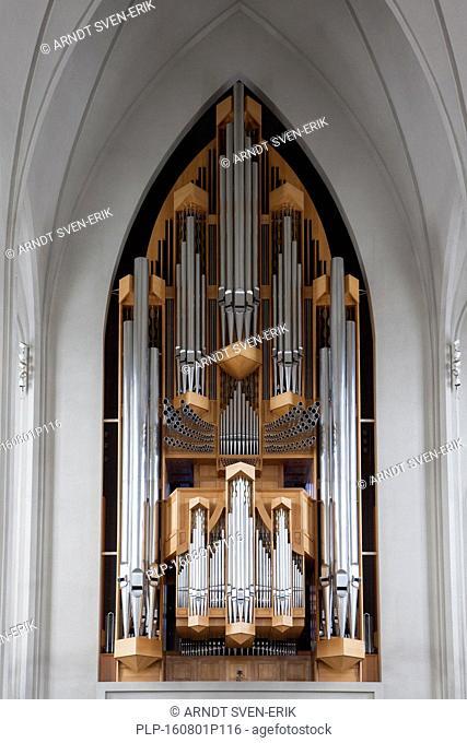 Pipe organ made by Johannes Klais in the Lutheran Hallgrímskirkja / church of Hallgrímur in Reykjavík, Iceland