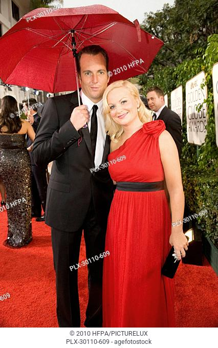 Actors Will Arnett and Amy Poehler arrive at the 67th Annual Golden Globes Awards at the Beverly Hilton in Beverly Hills, CA Sunday, January 17, 2010
