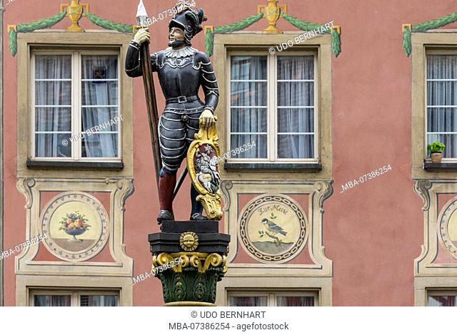 Fountain figure at town hall square, Stein am Rhein, Canton Schaffhausen, Switzerland