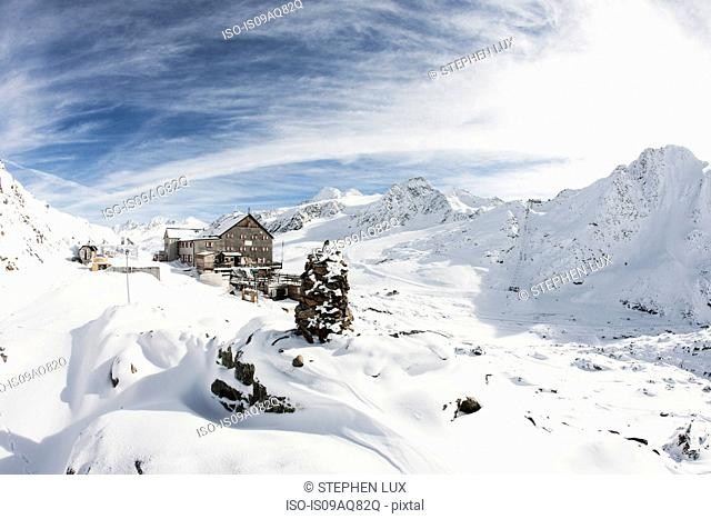 Snow covered landscape with hotel, Val Senales, South Tyrol, Italy