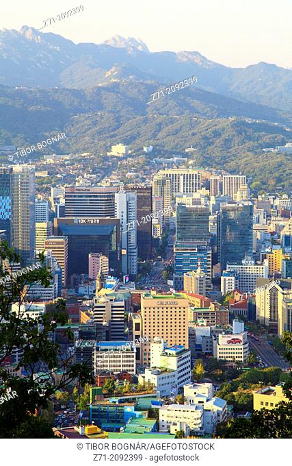 South Korea, Seoul, downtown skyline, aerial view,