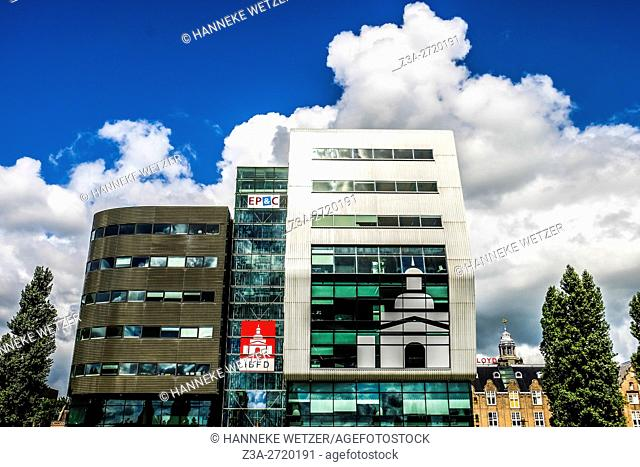 Building of the SBS broadcasting, modern architecture of Amsterdam, Holland, Europe