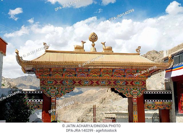 Entrance Thikse gompa ; Leh ; Ladakh ; Jammu and Kashmir ; India