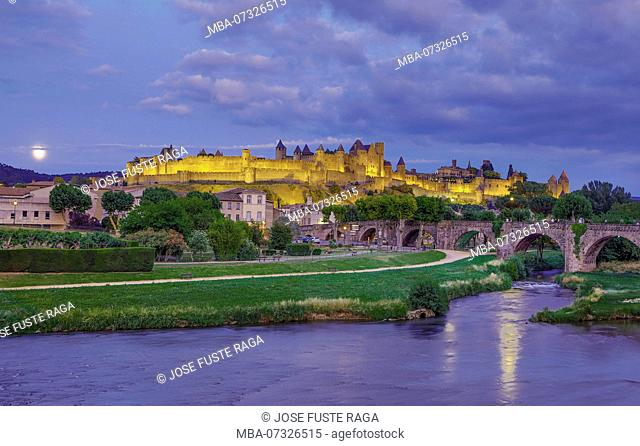 France, Aude region, Carcassonne city, la cite, medieval fortress, W.H., sunset, skyline, the moon