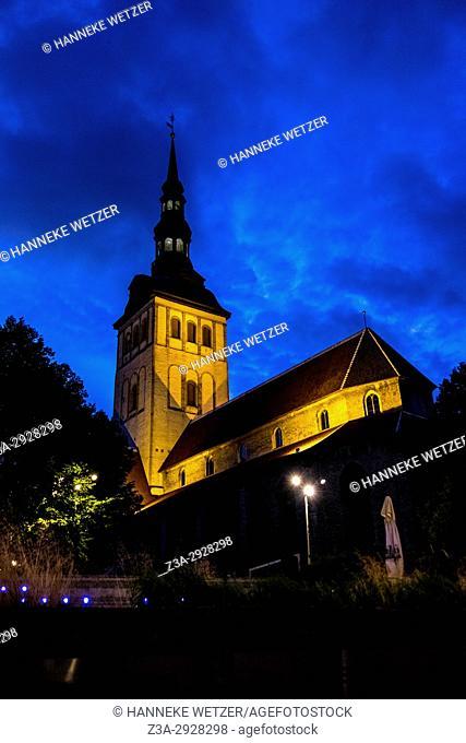 St. Olaf's Church in Tallinn by night, Estonia, Europe