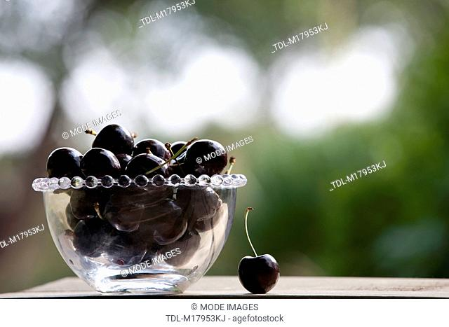 Black cherries in a glass bowl