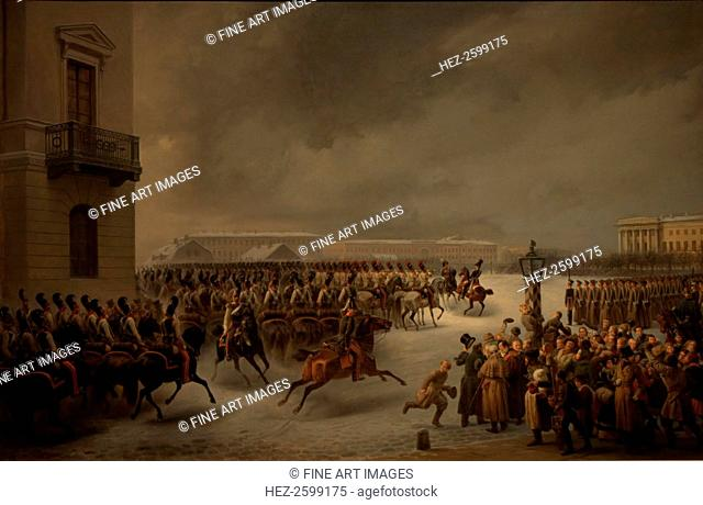 The Decembrist revolt at the Senate Square on December 14, 1825. Found in the collection of the State Hermitage, St. Petersburg