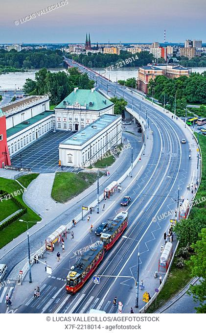 Aleja Solidarnosci street,in background Vistula river, Warsaw, Poland