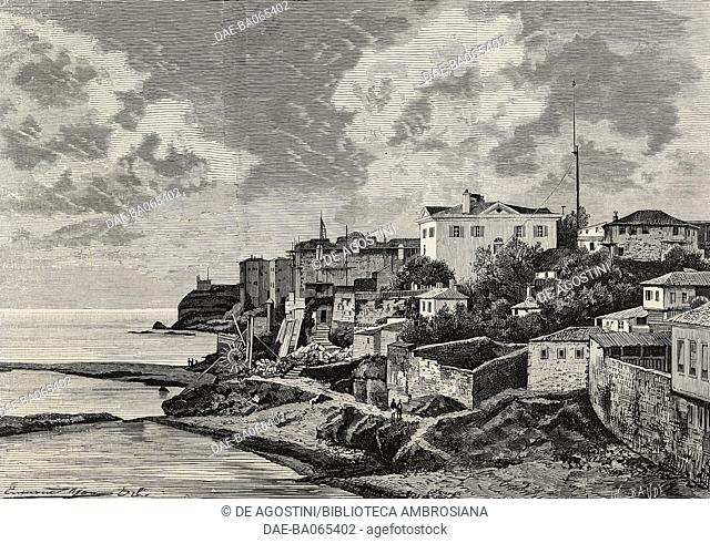 View of Trabzon, Turkey, illustration by Baude from L'Illustration, Journal Universel, No 1768, Volume LXIX, January 13, 1877