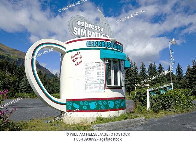 Giant coffee cup roadside coffee stand, Seward, Alaska, USA