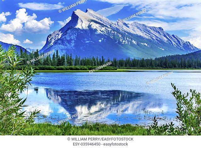 Lake Minnewanka Mount Inglismaldie Banff National Park Alberta Canada