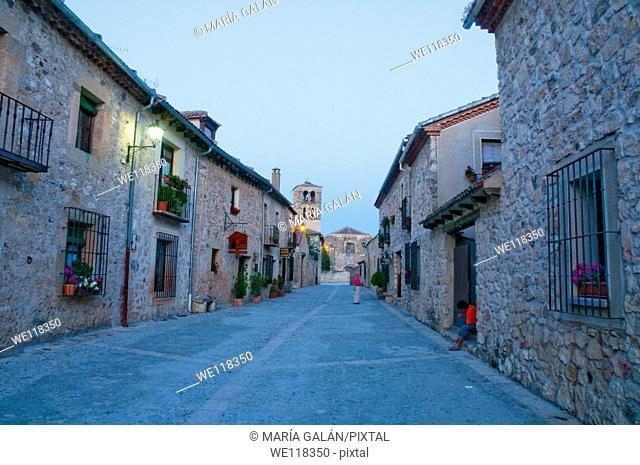 Mayor street, night view. Pedraza, Segovia province, Castilla Leon, Spain