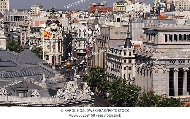 View from The Cybele Palace - Palacio de Cibeles, formerly The Palace of Communication -  Palacio de Comunicaciones on the Plaza de Cibeles in Madrid, Spain