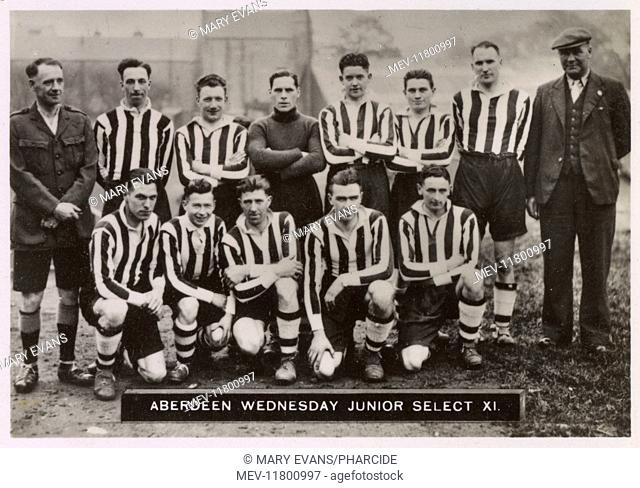 Aberdeen Wednesday Junior Select XI football team 1934-1935. Back row: Sanderson (Referee), Smith, Gill, Dargie, Thomson, Cummings, Wood, Urquhart (Trainer)