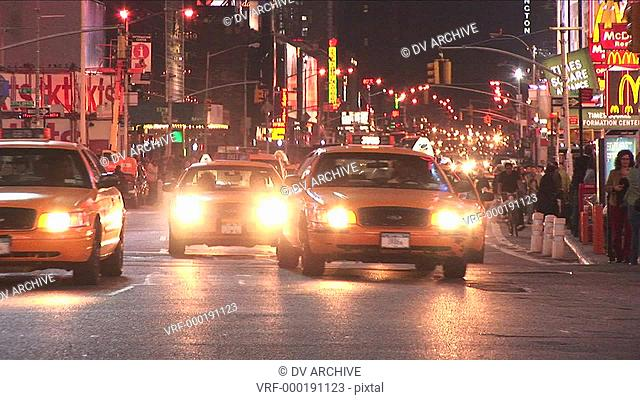 Yellow taxis dominate the traffic scene in the big-apple