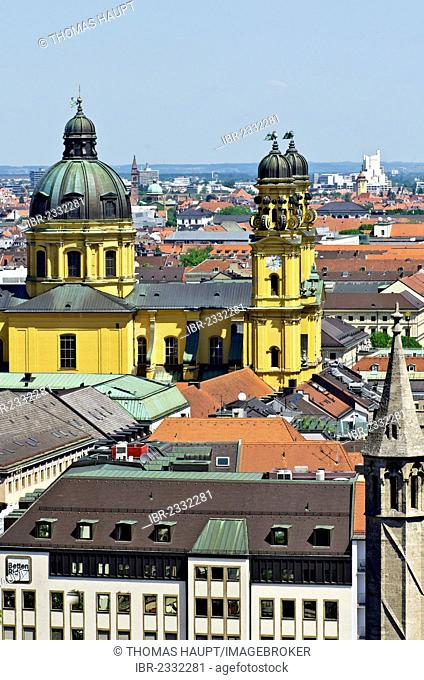 View from St. Peter's Church, Alter Peter, over the roofs of Munich with the Theatine Church, Theatinerkirche, Munich, Upper Bavaria, Bavaria, Germany, Europe