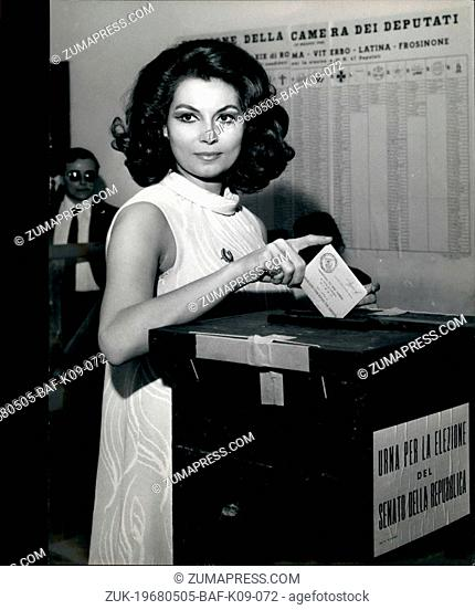 May 05, 1968 - Italy's sixth general election since World War II has been taken place today. Photo shows: actress Rosanna Schiaffino voting