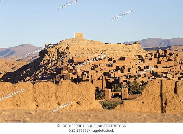 The Ksar of Ait-Ben-Haddou at sunrise, Aït Benhaddou, Morocco, Africa