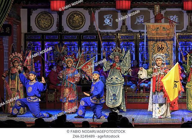 Chengdu, China - December 11, 2018: Actors performing in a Sichuan opera in Chengdu called Shu Feng Ya Yun