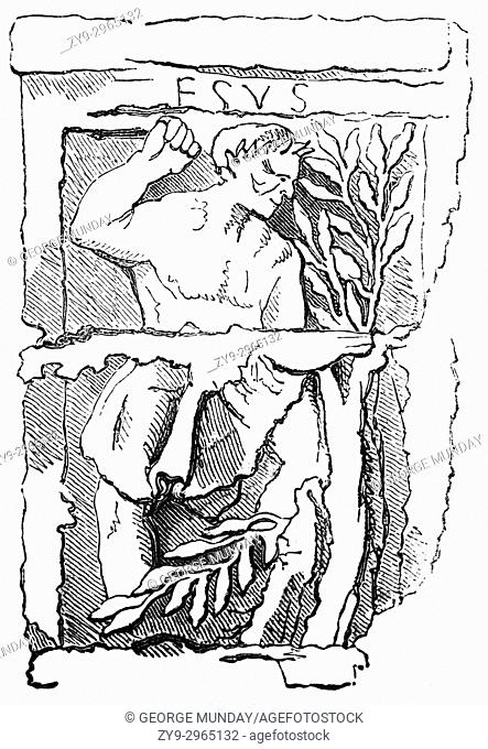"A drawing of Hesus, Aisus or Esus, a Gaulish god celebrated on the """"Pillar of the Boatmen"""" dating fromthe first quarter of the 1st century AD"