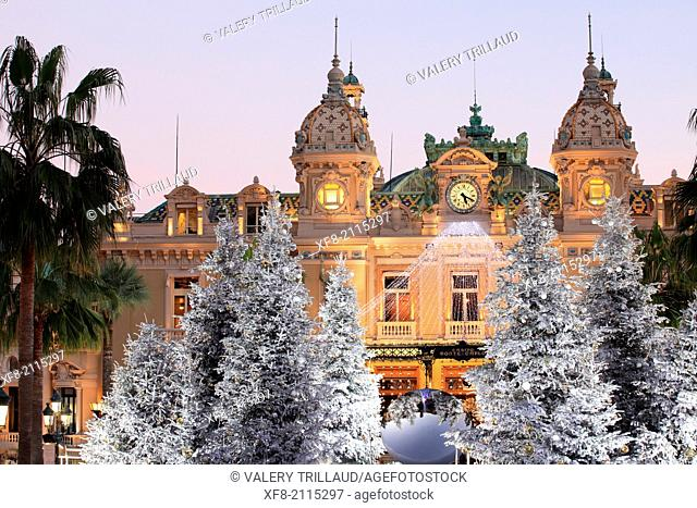 Christmas decoration to the Place du Casino of Monaco, Principality of Monaco, Côte d'Azur