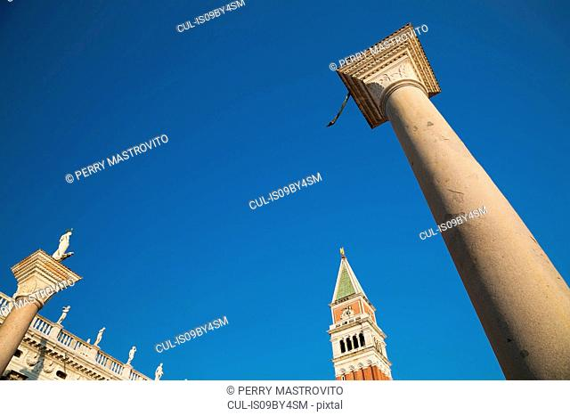 National library of St Mark's, column of San Teodoro, Campanile Bell tower and Winged Lion column, St Mark's square, Venice, Veneto, Italy