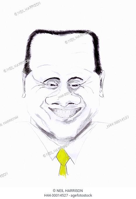 watercolour portrait of Italian ex-prime minister, Silvio Berlusconi. Original artwork