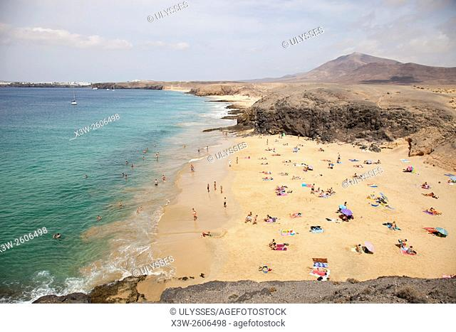 beach, Punta del Papagayo, Lanzarote island, Canary archipelago, Spain, Europe