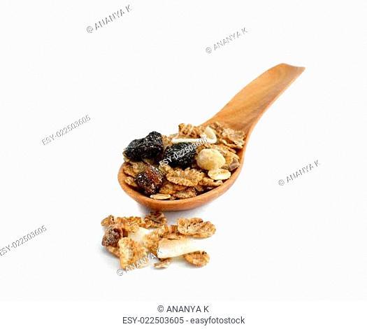 muesli with raisin, currant, mix nut, coconut