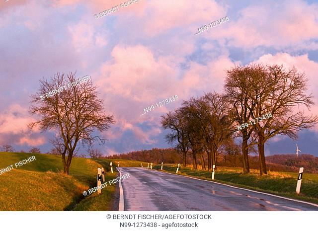 Country road after rain at sunset, April weather, cloudy sky, fruit trees, beech forest, wind engine, Franconian Switzerland, Bavaria, Germany