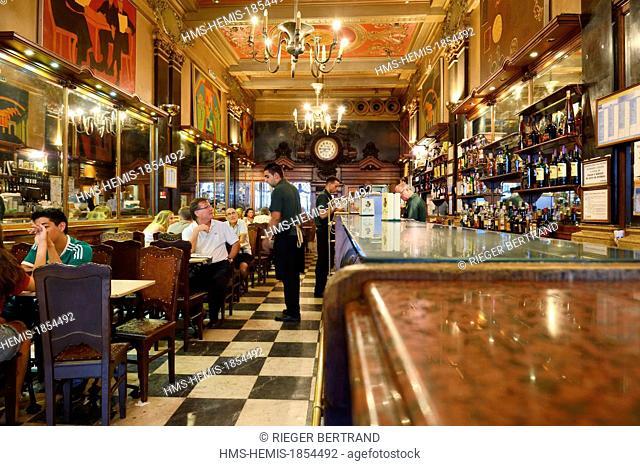 Portugal, Lisbon, Chiado district, the historical café A Brasileira rua Garrett