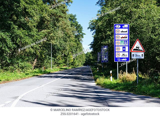Information panels on the road. Lithuanian side. Border between Lithuania and Kaliningrad. Curonian Spit. Nida, Neringa Municipality, Klaipeda County, Lithuania