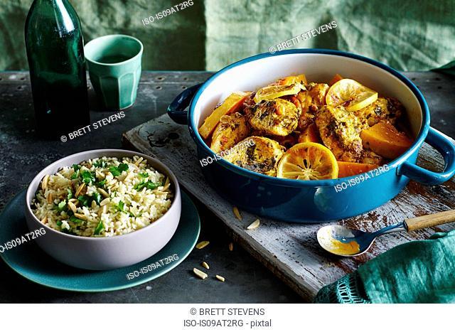 Chicken Currant Pumpkin Tagine, Almond Pea Pilaf