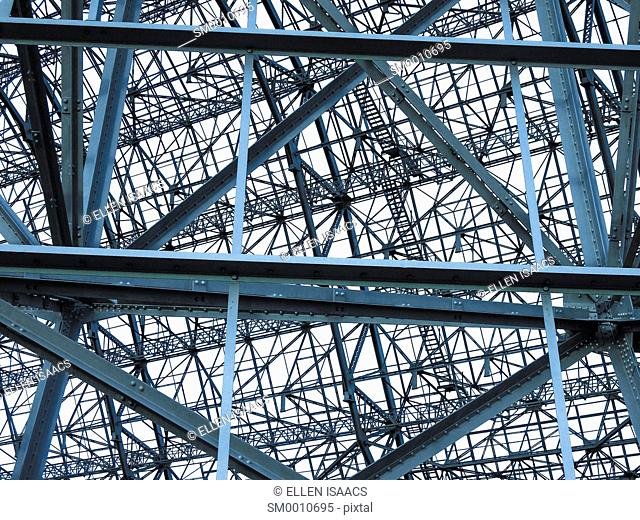 Complex steel frame of the former Moffett Air Force Base airplane hangar after the outer sheathing was removed, Mountain View, CA
