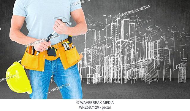 Carpenter with hammer against skyline sketch