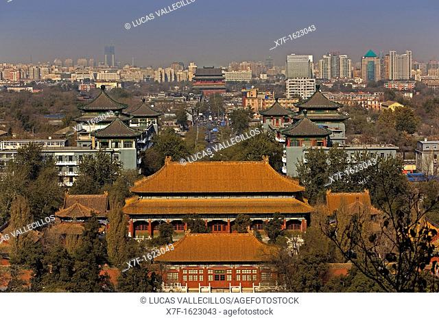 Tower of the drum, Dianmenwai Dajie and north of Beijing, as seen from Jingshan Park,Beijing, China