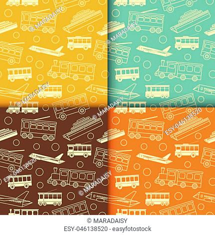 Retro seamless patterns with outline icons of transport. Vector set vintage illustration for wrapping or textile. Background