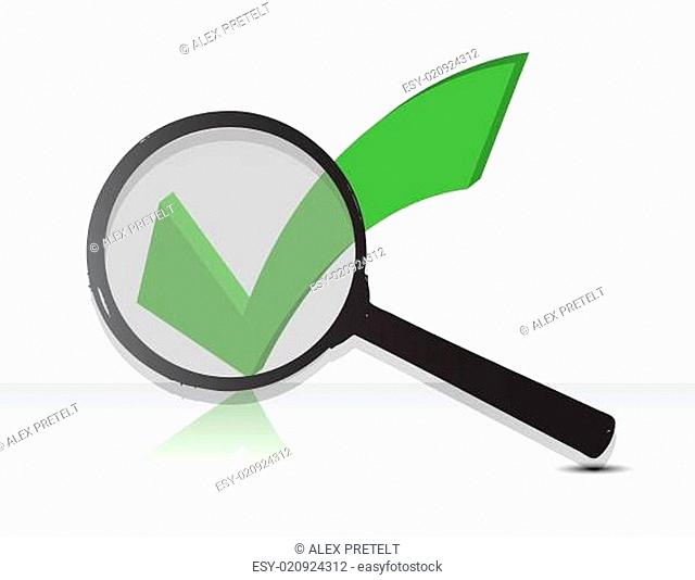 Check Mark under magnify glass illustration design