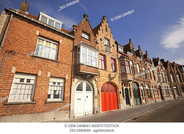 Colorful traditional buildings in the city center, Bruges, West Flanders, Belgium, Europe