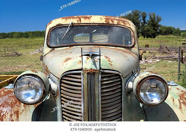 old vintage historic car with chrome aeroplane hood ornament in a field in Colonia Del Sacramento Uruguay South America